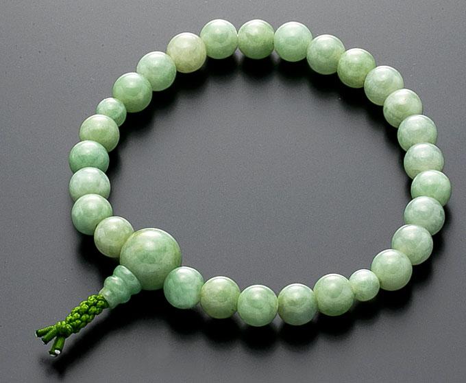 【10%割引クーポン配布中】 数珠ブレスレット 房付き 腕輪念珠 翡翠 7mm 共仕立 緑色ゴム4本組 手首数珠 桐箱入