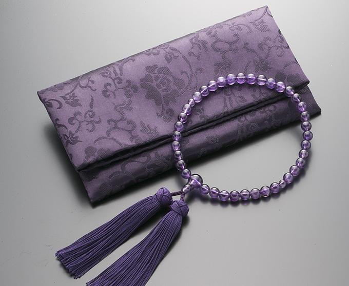 【10%割引クーポン配布中】 数珠 女性用 念珠 紫水晶 共仕立 正絹花かがり房 全宗派対応 2月誕生石 数珠袋付 化粧箱入