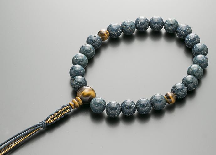 【10%割引クーポン配布中】 数珠 男性用 念珠 略式数珠 星月菩提樹 藍染 虎眼石仕立 正絹紐房 全宗派対応