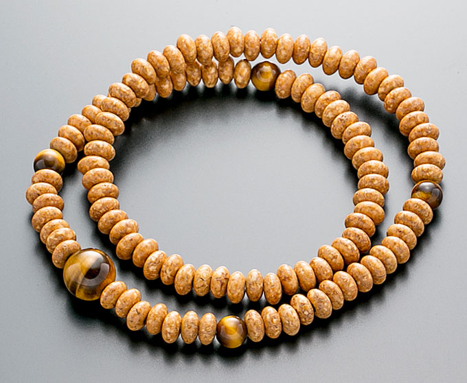 【10%割引クーポン配布中】 腕輪数珠 108玉 数珠 天竺菩提樹 虎眼石仕立 2重巻き 桐箱入