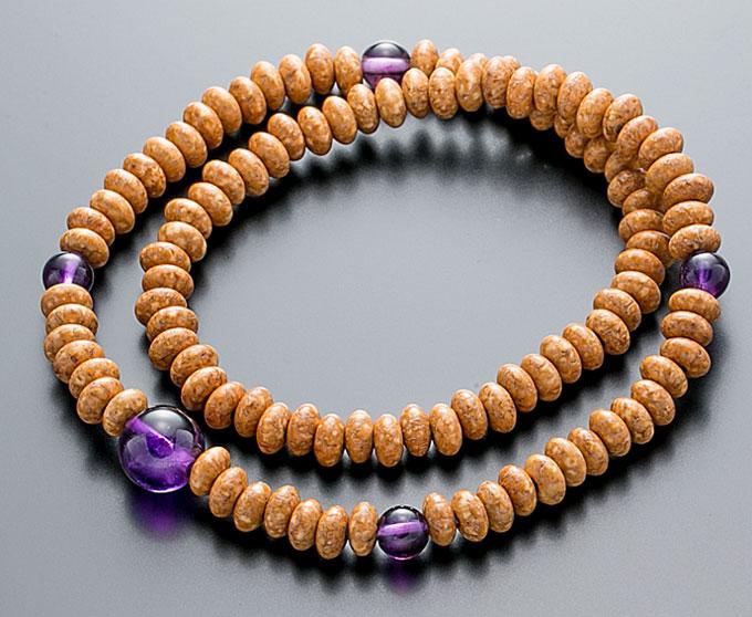 【10%割引クーポン配布中】 腕輪数珠 108玉 数珠 天竺菩提樹 紫水晶仕立 2重巻き 桐箱入