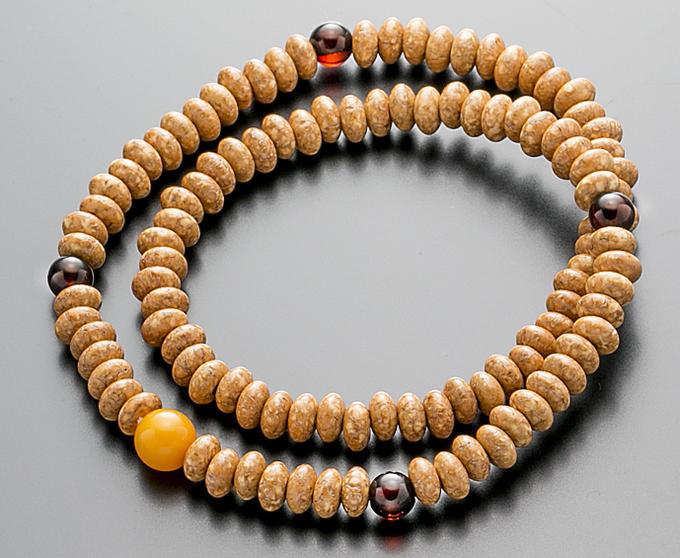 【10%割引クーポン配布中】 腕輪数珠 108玉 数珠 天竺菩提樹 琥珀仕立 2重巻き 桐箱入