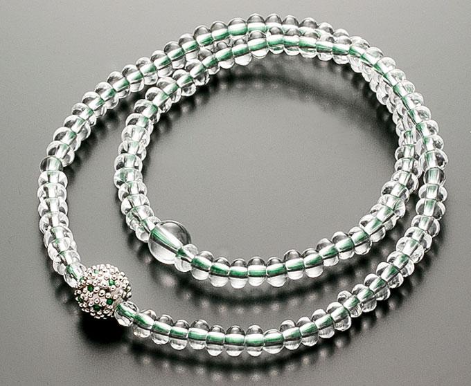 【10%割引クーポン配布中】 腕輪数珠 108玉 数珠 水晶みかん玉 エメラルド仕立 2重巻き 桐箱入