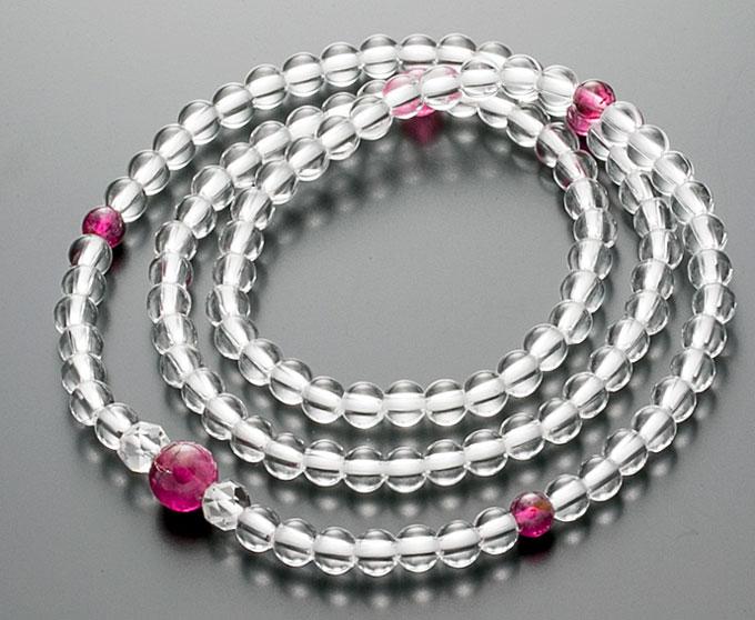 【10%割引クーポン配布中】 腕輪数珠 108玉 数珠 水晶 トルマリン(ルべライト)仕立 3重巻き 桐箱入