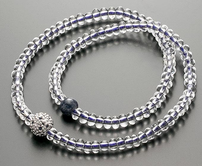 【10%割引クーポン配布中】 腕輪数珠 108玉 数珠 水晶みかん玉 サファイア仕立 2重巻き 桐箱入