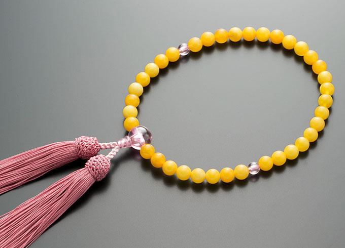 女性用数珠(念珠 蝋琥珀 ピンクジルコン仕立 正絹細房