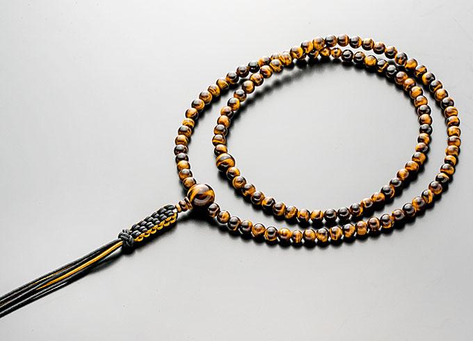 【10%割引クーポン配布中】 臨済宗 数珠 男性用 念珠 虎眼石 尺3寸 共仕立 正絹紐房 禅宗数珠