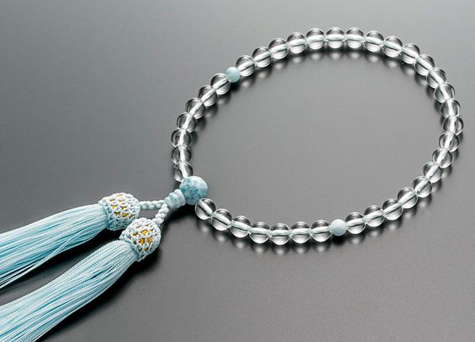 【10%割引クーポン配布中】 数珠 女性用 念珠 略式数珠 本水晶 ラリマー仕立 正絹細房 全宗派対応 桐箱入