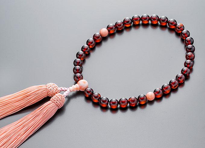 女性用数珠(念珠 チェリー琥珀 桃色珊瑚仕立 正絹細房