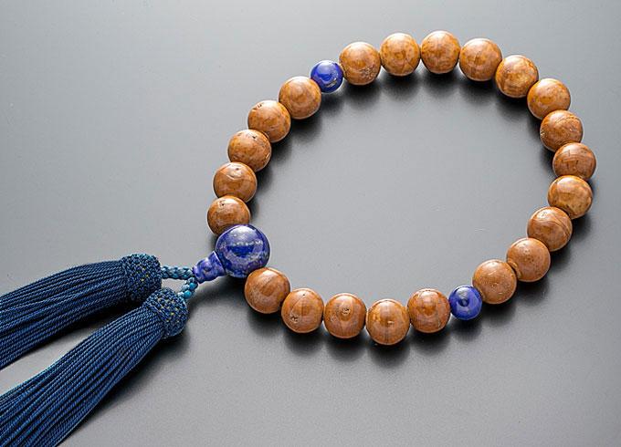 【10%割引クーポン配布中】 数珠 男性用 念珠 略式数珠 鳳眼菩提樹 ラピスラズリ仕立 正絹房 全宗派対応 桐箱入