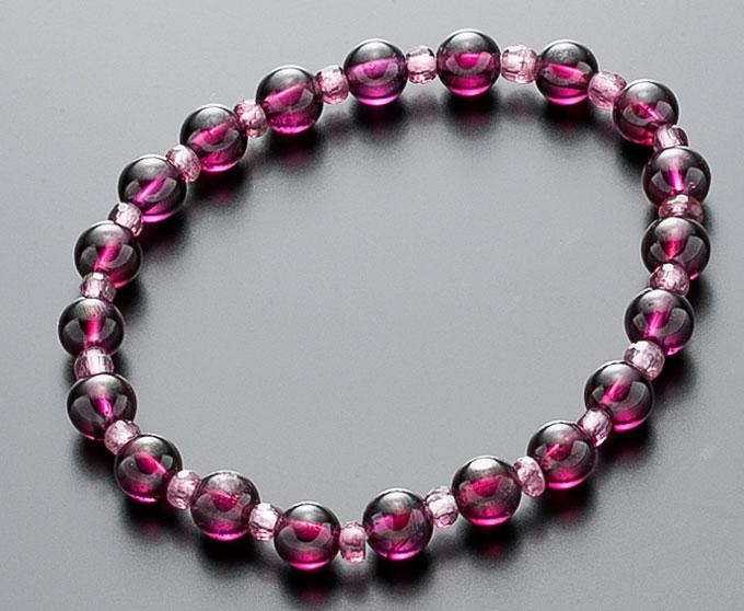 【10%割引クーポン配布中】 数珠ブレスレット 高品質 ガーネット & ピンクトルマリン 天然石 御守り