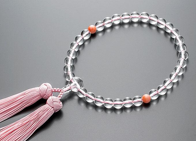 【10%割引クーポン配布中】 数珠 女性用 念珠 本水晶  桃色珊瑚仕立 正絹花かがり房 桐箱入