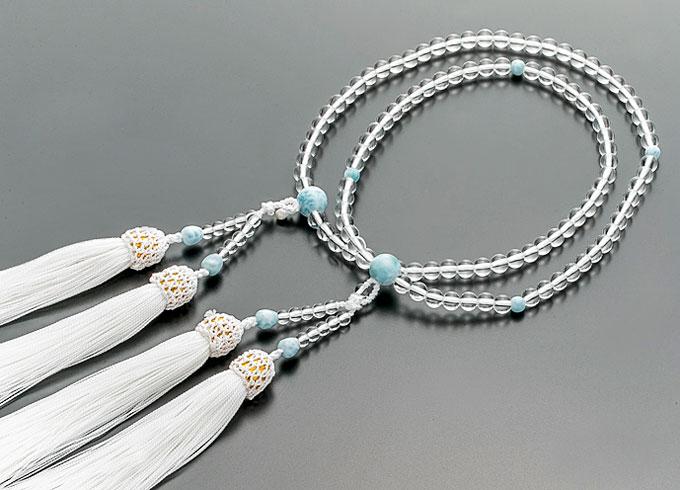 【10%割引クーポン配布中】 二輪数珠 二輪念珠 女性用 水晶 ラリマー仕立 正絹白房 本式数珠 桐箱入