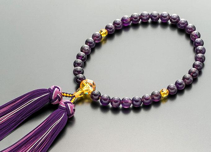 【10%割引クーポン配布中】 数珠 女性用 念珠 紫水晶 黄水晶仕立 正絹花かがり房 全宗派対応 2月誕生石 桐箱入