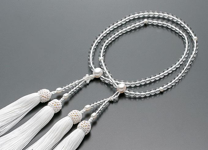 【10%割引クーポン配布中】 二輪数珠 二輪念珠 女性用 水晶 淡水パール仕立 正絹白房 本式数珠 桐箱入
