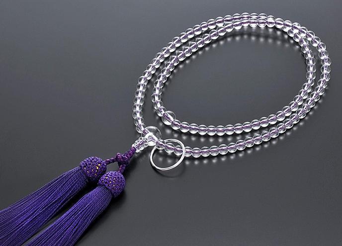 【10%割引クーポン配布中】 曹洞宗 数珠 女性用 本水晶 共仕立て 正絹房 禅宗数珠
