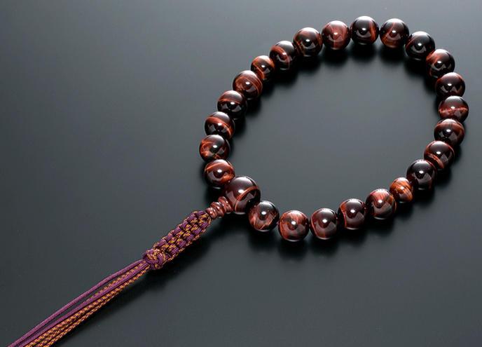 【10%割引クーポン配布中】 数珠 男性用 念珠 略式数珠 赤虎眼石 共仕立 正絹紐房 全宗派対応 桐箱入