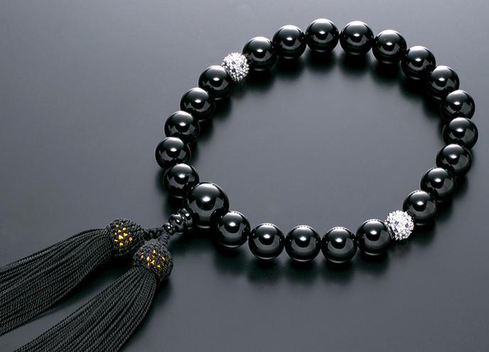 数珠 男性用 念珠 略式数珠 黒オニキス シルバーサファイア仕立 正絹房 全宗派対応 桐箱入