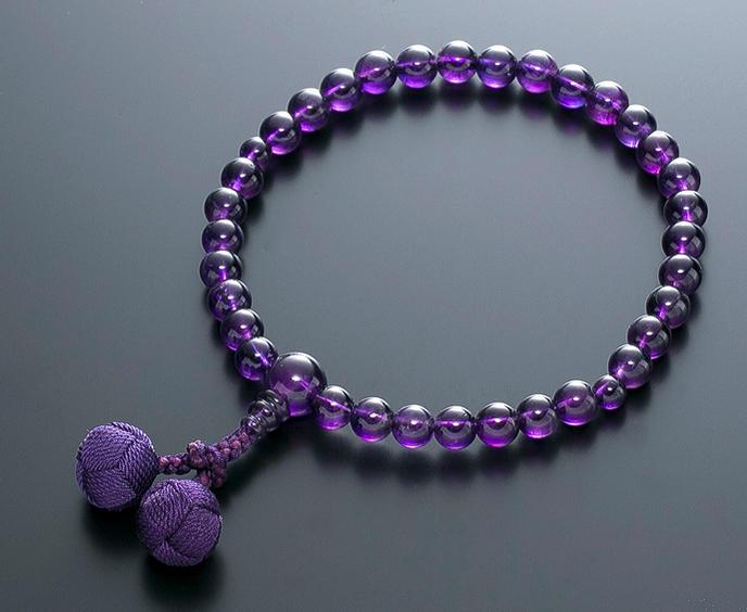 【10%割引クーポン配布中】 数珠 女性用 念珠 紫水晶 共仕立 正絹かがり梵天房 全宗派対応 2月誕生石 桐箱入