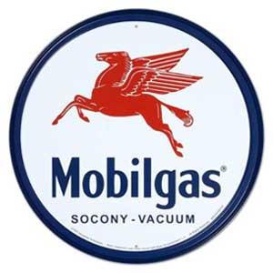 メタルサイン プレート オイル カンパニー 企業 ロゴ 完売 MOBIL ROUND GAS ラウンドロゴ モービルガソリン アメリカンブリキ看板 年中無休