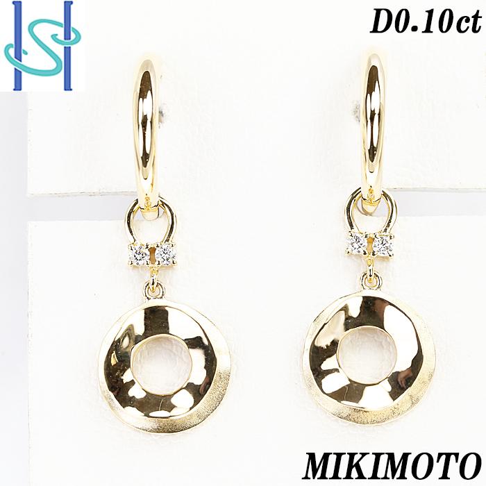 新品仕上げ済 MIKIMOTO SH56078 ミキモト ダイヤモンド 0.10ct 中古 K18イエローゴールド イヤリング 2WAY 休み 市販