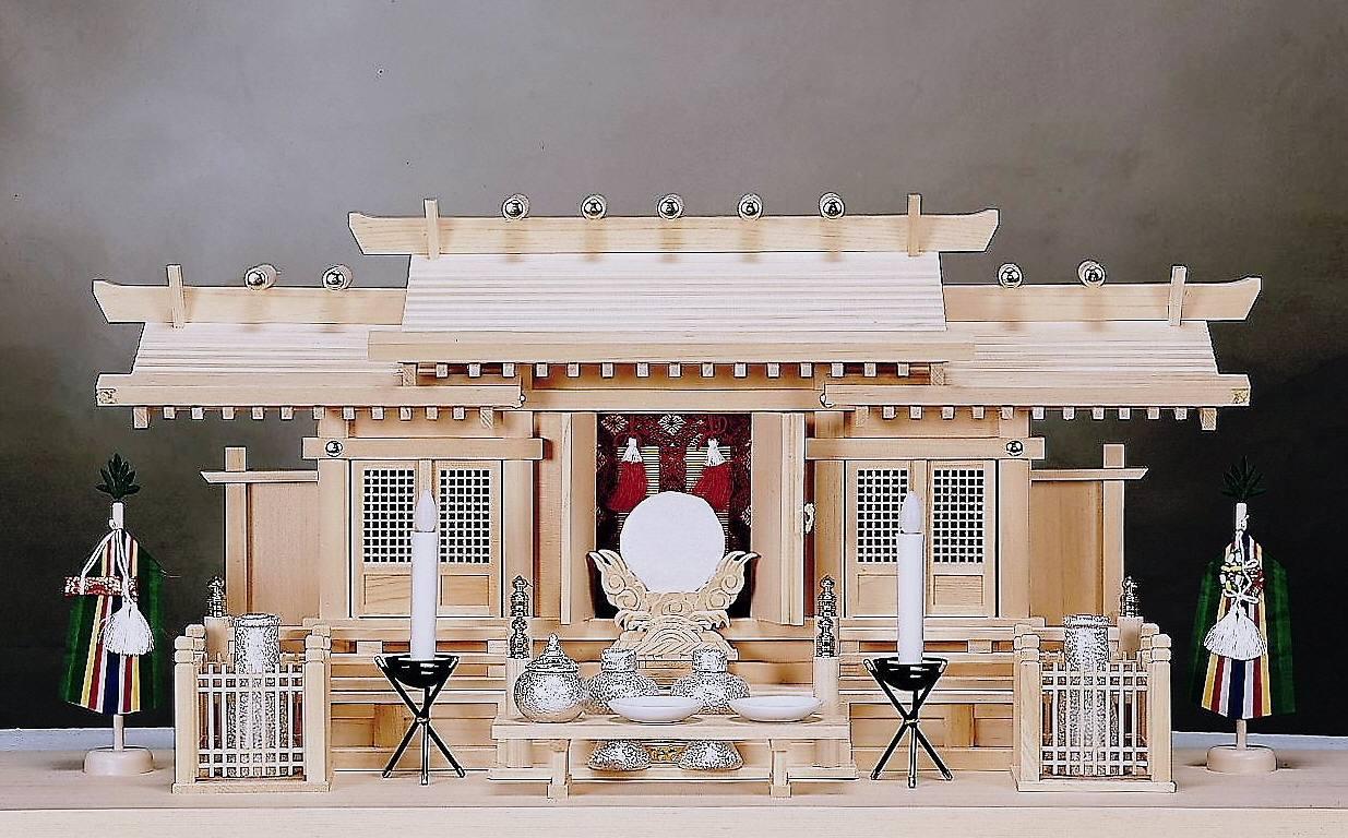 【神棚】格子付き三社 大(木曽ひのき 桧)高級神棚 国産 日本製
