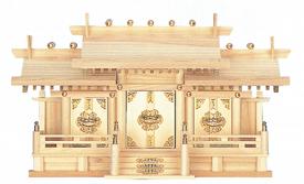 【神棚】新寸屋根違い三 社中 ひのき 神棚 日本製 国産神棚【送料無料】