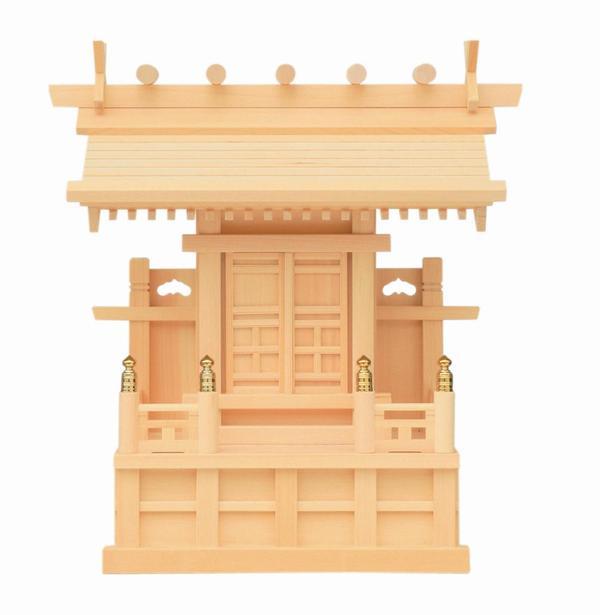 【神棚】一 社 鹿屋野 木曽ひのき 国産 日本製 御簾付【送料無料】