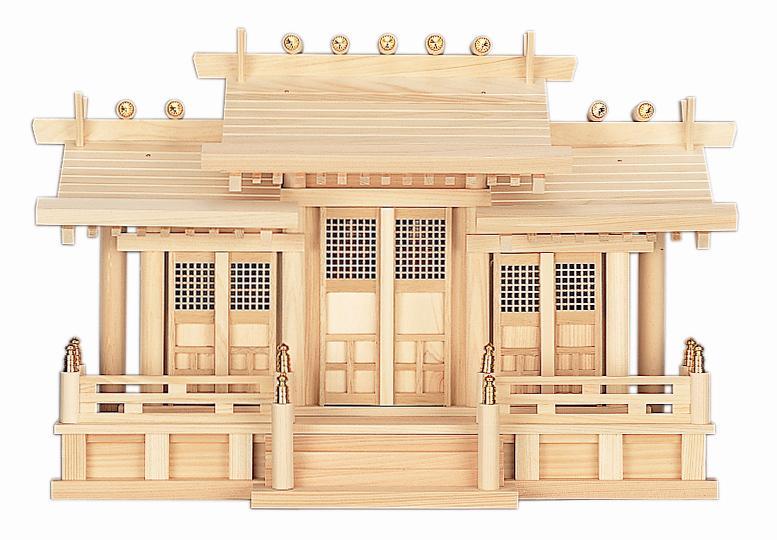 【神棚】屋根違い格子付き三社丸柱付 御簾付 国産 日本製 【送料無料】