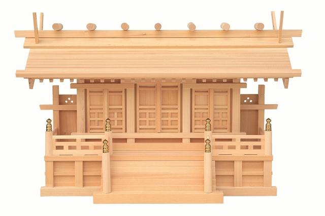 【神棚 専門】通し屋根三社鹿屋野(かやの) 飾り金具がございません【送料無料】