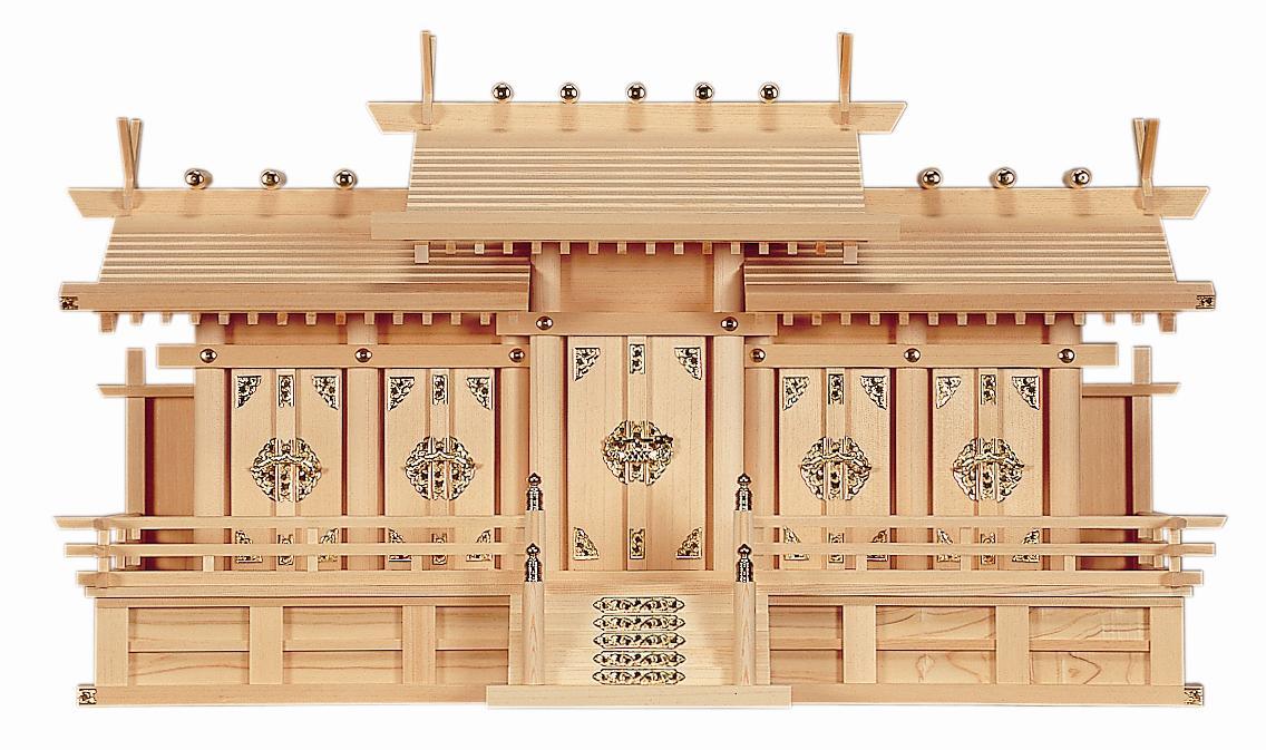 【神棚】 五社 屋根違い 大 神棚 日本製 高級神棚 【送料無料】