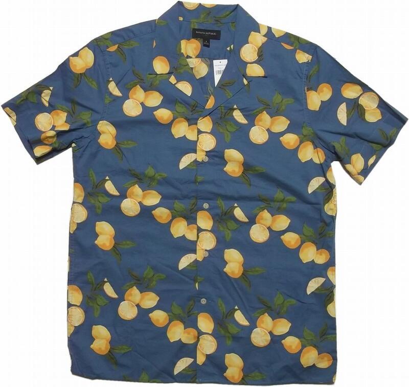 バナナリパブリック 半袖 コットンハワイアンシャツ ブルー BANANA REPUBLIC ALOHA SHIRTS 099
