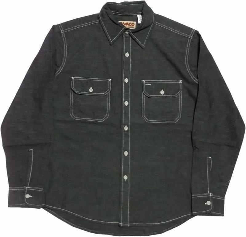 カムコ 長袖 シャンブレーシャツ ブラック CAMCO CHAMBRAY SHITRS 018