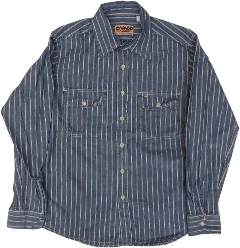 カムコ 長袖 ストライプ シャンブレーシャツ ブルー CAMCO CHAMBRAY SHITRS 027