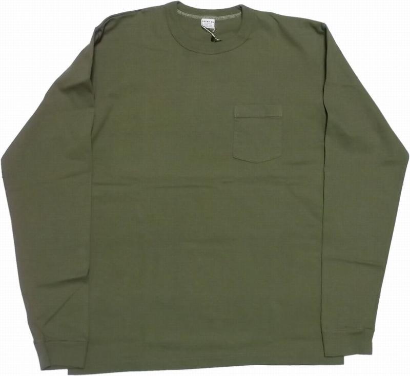 シンプルなデザインと縫製のポケット付きロンTee 激安通販専門店 エントリーエスジー プエブロ ブロンズグリーン ENTRY SG 長袖 BRONZE ポケット付き PUEBLO メンズ Tシャツ GREEN 信託 217