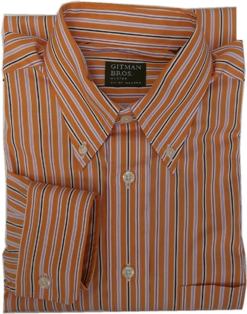 ギットマンブラザーズ アメリカ製 長袖 ストライプ ボタンダウンシャツ オレンジ GITMAN BROTHERS BD SHIRTS MADE IN USA 019