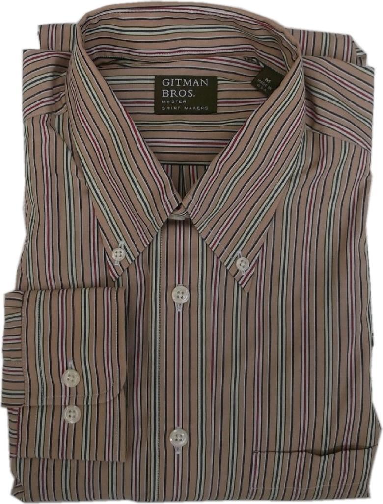 人気のGITMAN BROS Made in 新品 送料無料 USAのBDシャツ 正規取扱店 ギットマンブラザーズ アメリカ製 長袖 ストライプ ボタンダウンシャツ MADE BD BROTHERS SHIRTS GITMAN 015 IN USA メンズ タン