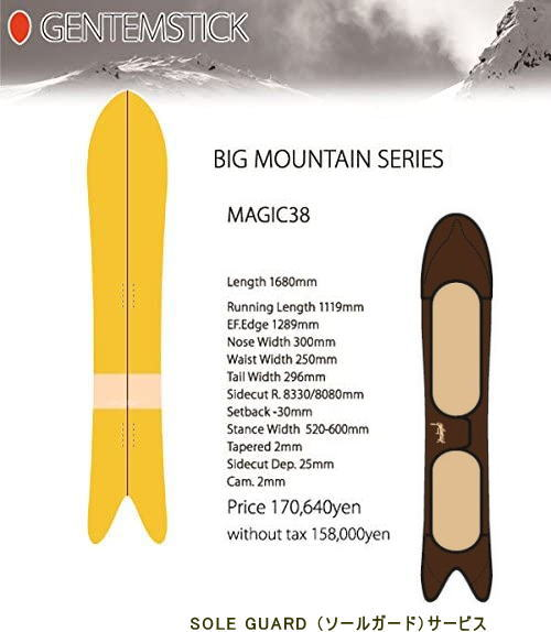 【 GENTEMSTICK 】15-16Model【 展示品価格 】MAGIC38マジック38SOLE GUARD (ソールガード)サービス●送料無料●