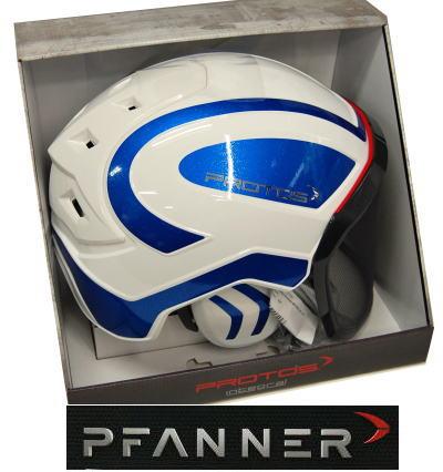 【 PFANNER 】ファナープロトス インテグラル フォレスト ヘルメットホワイト/ブルーメタリック、ブラック/ブルーメタリック-送料無料-