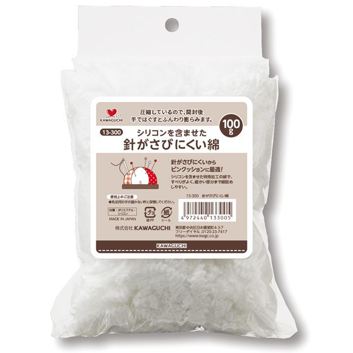 ピンクッション 綿 有名な 中材 詰め綿 ぬいぐるみ綿 わた シリコンを含ませた 113-300 かわいい 国内送料無料 KAWAGUCHI 針がさびにくい綿 オリジナルピンクッション 100g