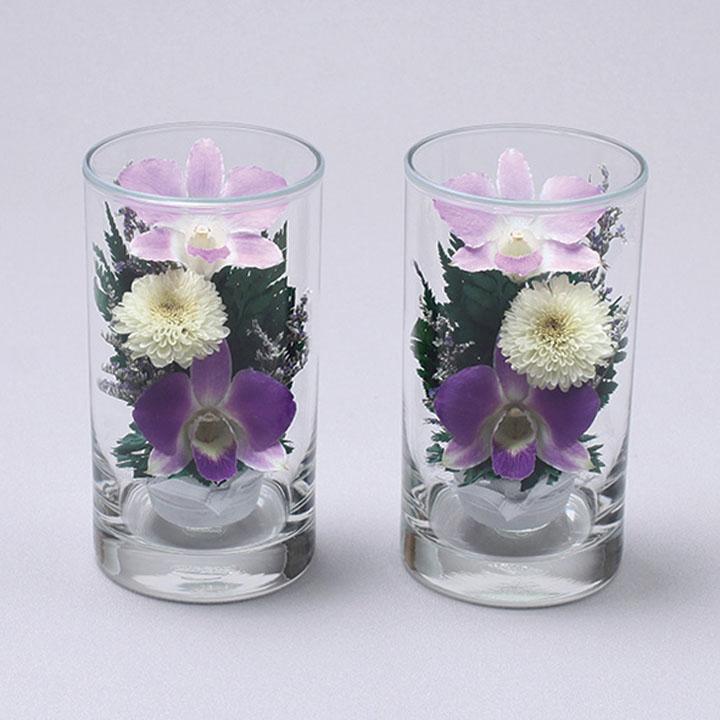 グラスフラワー 仏花ツインセット D-0001 紫 高さ12cm | 法事 法要 お盆 手元供養 ペット供養 お彼岸 お供え お正月 メモリアルフラワー 喪中見舞い
