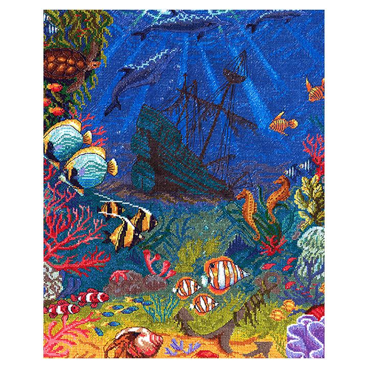 刺繍 PANNA(パンナ) Underwater World (美しい水中の世界)|輸入キット クロスステッチ 熱帯魚 かめ イルカ