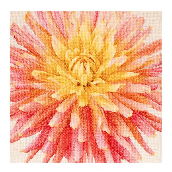 刺繍キット Thea GOUVERNEUR 441 Pink Dahlia ピンクダリア White Aida|クロスステッチ キット
