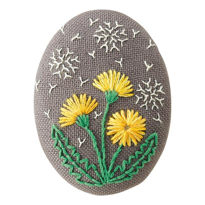 フランス 刺繍キット たんぽぽ 花のブローチ キット 刺繍 フランス刺しゅう ブローチキット タンポポ