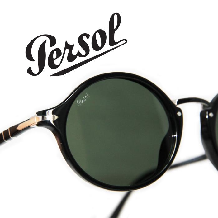 PERSOLペルソール[PO3208s-95/58] 楕円オーバル型 黒のフレーム グリーンレンズ UV400 メンズ レディース サングラス