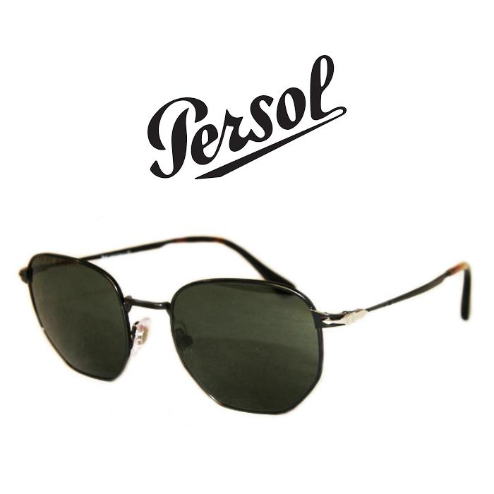 PERSOLペルソール[PO2446s-107831]六角メタルフレーム グリーンレンズ UV400 メンズ サングラス