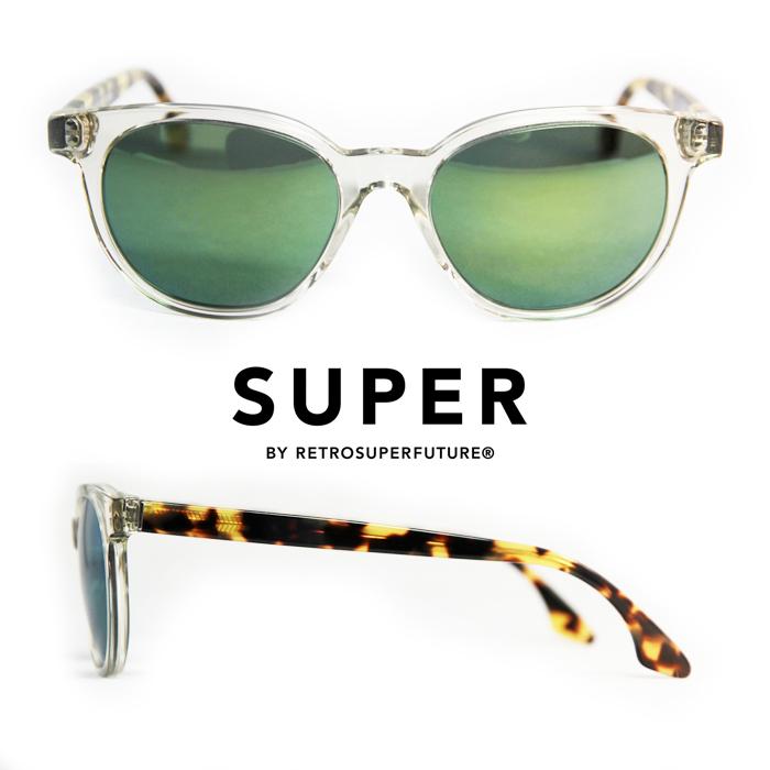 スーパー SUPER Sunglasses Riviera Sportivo[kksessu]ボストン型スーパーリヴィエラスポルティーヴォ サングラス 透明フロント べっ甲柄テンプル オリーブ色のレンズ  UVカット メンズサングラス レディースサングラス
