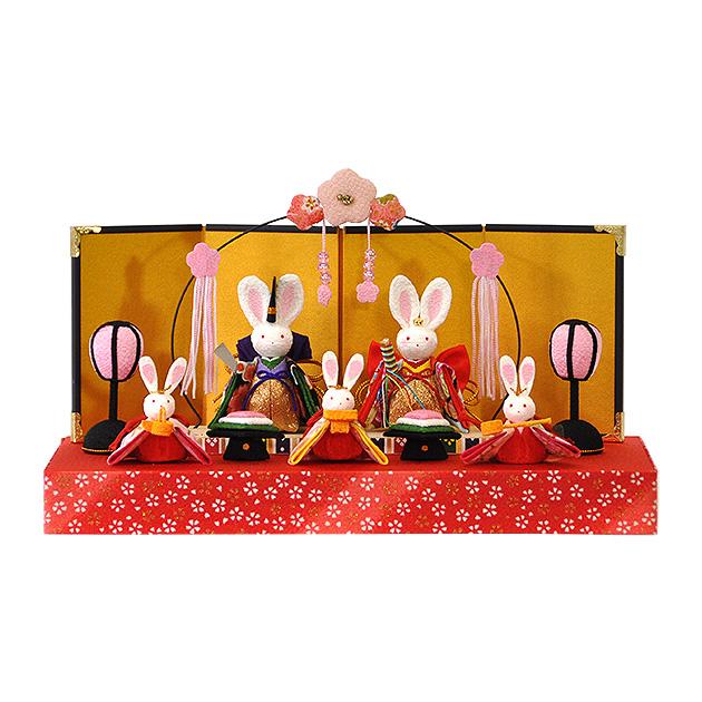 ミニ雛 節句 雛人形 ひな人形 脇飾り お祝い コンパクト 開運 兎 うさぎ ちりめん 五人飾り コンパクト かわいい E054