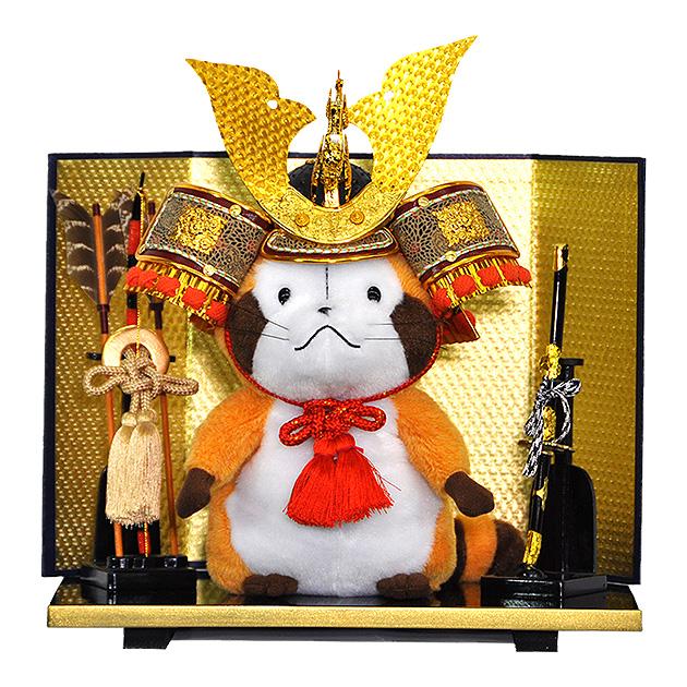 【N556】兜を被った五月人形『ラスカル』に台屏風・弓太刀をフルセット♪