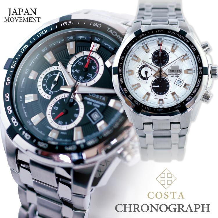 COSTAクロノグラフ 腕時計[デザインウォッチ/メンズ腕時計/ビジネス/カジュアル/男性/100m防水/あす楽/スーパーSALE]